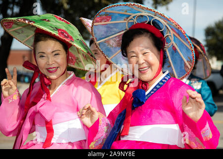 Houston, USA. 16th Nov, 2019. People take part in a parade during the Korean Festival held in Carrollton, a suburban city of Dallas, Texas, the United States, on Nov. 16, 2019. Credit: Dan Tian/Xinhua/Alamy Live News - Stock Photo