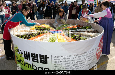 Houston, USA. 16th Nov, 2019. People prepare traditional Korean food Bibimbap during the Korean Festival held in Carrollton, a suburban city of Dallas, Texas, the United States, on Nov. 16, 2019. Credit: Dan Tian/Xinhua/Alamy Live News - Stock Photo