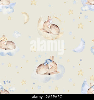 Cute dreaming cartoon animal hand drawn watercolor seamless pattern. Can be used for t-shirt print, kids nursery wear fashion design, baby shower - Stock Photo