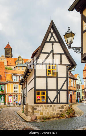 View of narrow half-timbered house at Finkenherd. Traditional house in the medieval city of Quedlinburg, part of UNESCO World Heritage Site.