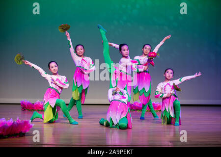 Houston, USA. 16th Nov, 2019. Girls perform Chinese folk dance during a Chinese dance gala held in Dallas, Texas, the United States, Nov. 16, 2019. A gala of traditional Chinese folk dance was held Saturday in Dallas, which was organized by Dan Liu Dance School. Credit: Tian Dan/Xinhua/Alamy Live News - Stock Photo