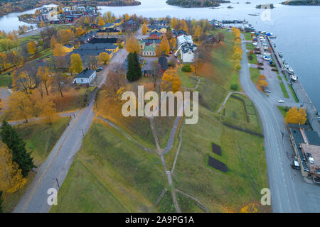 View from the heights of the ancient fortress of Lappeenranta on an October day (aerial photography). Finland - Stock Photo