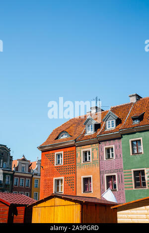 Stary Rynek old town market square, colorful buildings in Poznan, Poland
