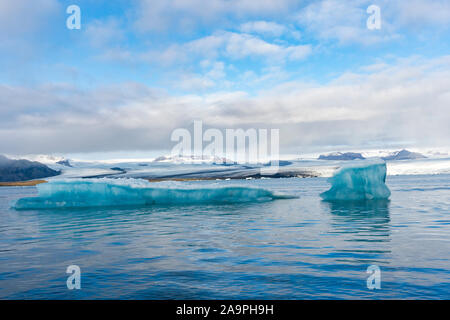impressive ice landscape of Jökulsárlón glacier lagoon in  Iceland - Stock Photo