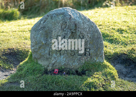 The Clan Fraser memorial stone, Culloden battlefield, Inverness.