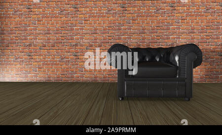 3D Illustration Leather armchair on a red brick wall - Stock Photo