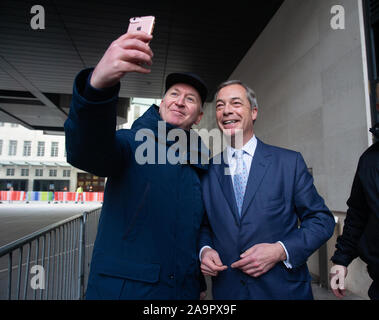 London, UK. 17th Nov, 2019. Brexit Party Leader, Nigel Farage, at the BBC Studios. Credit: Tommy London/Alamy Live News - Stock Photo
