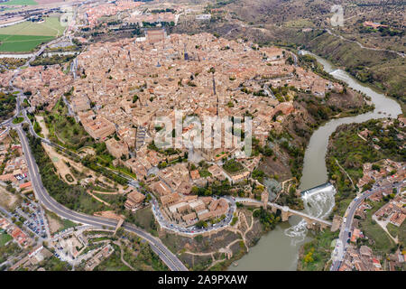 Aerial view of Toledo, Spain - Stock Photo