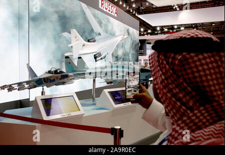 Dubai, United Arab Emirates. 17th Nov, 2019. DUBAI, UNITED ARAB EMIRATES - NOVEMBER 17, 2019: The United Aircraft Corporation stand at the 2019 Dubai Airshow. Marina Lystseva/TASS Credit: ITAR-TASS News Agency/Alamy Live News - Stock Photo