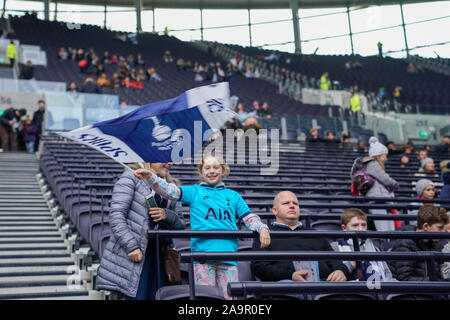 London, UK. 17th Nov, 2019. Tottenham Hotsupr fan during the Barclay's FA Women's Super League football match between Tottenham vs Arsenal at Tottenham Hotspur Stadium on November 17, 2019 in London, England (Photo by Daniela Porcelli/SPP) Credit: SPP Sport Press Photo. /Alamy Live News - Stock Photo