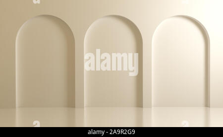 White 3d architectural background with arches and columns.3d rendering,  3d illustration.