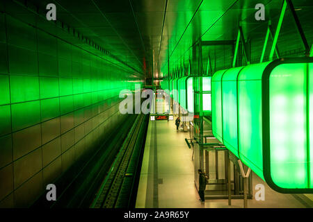 Subway station Hafencity University, underground line U4, in Hamburg, †berseequartier, - Stock Photo