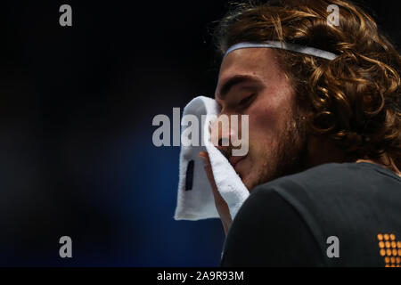 O2 Arena. London, UK. 17th Nov, 2019. Nitto ATP Tennis Finals; Stefanos Tsitsipas (Greece) during his practice session before the mens singles final - Editorial Use Credit: Action Plus Sports/Alamy Live News - Stock Photo