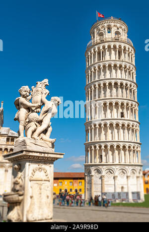Shot of the leaning tower of Pisa, in the Italian region of Tuscany, taken on a sunny day - Stock Photo