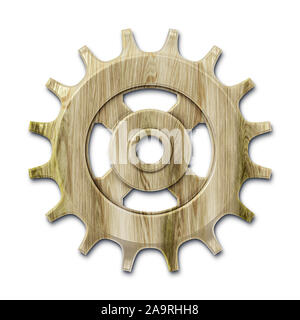 An image of one old wooden gear - Stock Photo