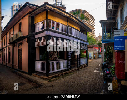 Mumbai, India - November 11,2019 : Heritage houses in a lane of Khotachiwadi at south Mumbai - Stock Photo