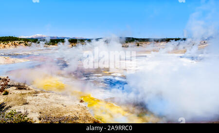Crackling Lake in the Porcelain Basin of Norris Geyser Basin area in Yellowstone National Park in Wyoming, United States of America