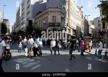 Istanbul, Turkey - September-14.2019: People walking on the street in Istanbul. - Stock Photo