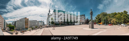 Oslo, Norway - June 24, 2019: Statue Of King Haakon VII Of Norway In Oslo, Norway. Panorama, Panoramic View Of June 7 square. - Stock Photo