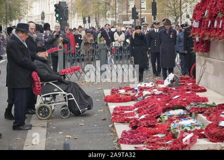 London, UK. 17th Nov, 2019. Sir Malcolm Rifkind, The Chief Rabbi Ephraim Mirvis and The Right Worshipful Lord Mayor of Westminster - Councillor Ruth Bush, attend the annual AJEX (The Association of Jewish Ex-Servicemen and Women) Remembrance Ceremony & Parade in Whitehall, London. Credit: Brian Minkoff/Alamy Live News - Stock Photo