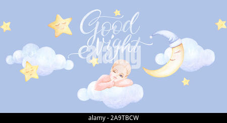 Kids prints. Baby sleeping on the cloud. Girl who winks. Good Night. Lettering. Clouds fly, stars. Watercolor. Light blue background. Print quality. - Stock Photo