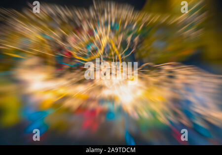 City colorful night lights perspective blurred by high speed of the car. A streak of light, trails. - Stock Photo