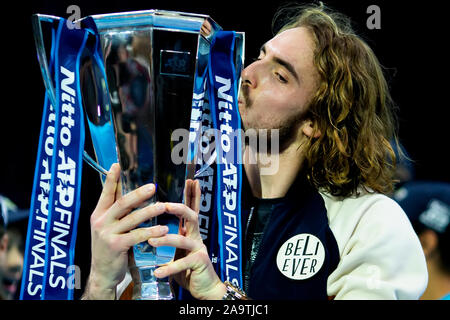 Arena. London, UK. 17th Nov, 2019. Nitto ATP Tennis Finals; Stefanos Tsitsipas (Greece) kisses the ATP trophy - Editorial Use Credit: Action Plus Sports/Alamy Live News - Stock Photo