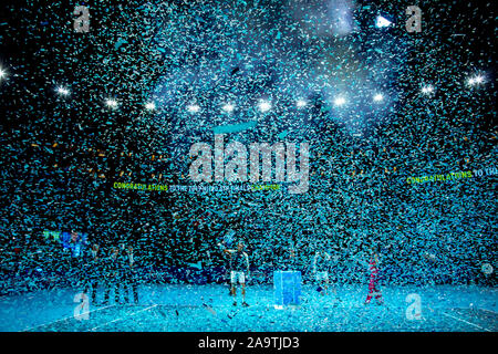 Arena. London, UK. 17th Nov, 2019. Nitto ATP Tennis Finals; Stefanos Tsitsipas (Greece) holds the ATP trophy - Editorial Use Credit: Action Plus Sports/Alamy Live News - Stock Photo