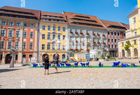 Bautzen, Germany - September 1, 2019: Installation in the square in front of the Town Hall of Bautzen in the Upper Lusatia, Saxony - Stock Photo
