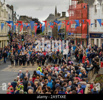 Returning from the Toll in Selkirk during the annual Common Riding which traces its roots back to the Scottish defeat at the Battle of Flodden in 1513 - Stock Photo
