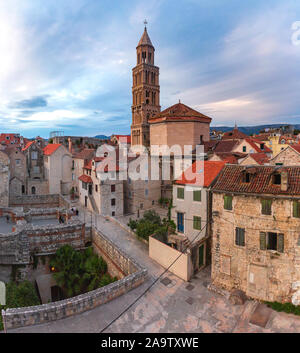 Aerial view of Saint Domnius Cathedral in Diocletian Palace in Old Town of Split, the second largest city of Croatia in the morning
