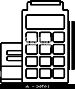 pos terminal credit card commerce shopping line image icon illustration - Stock Photo