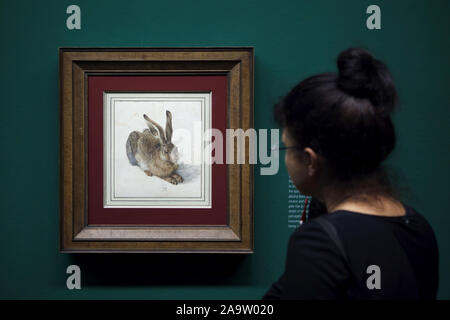 Visitor in front of the watercolour painting 'Young Hare' by German Renaissance painter Albrecht Dürer (1502) displayed at his retrospective exhibition in the Albertina Museum in Vienna, Austria. The exhibition presenting over 200 examples of Dürer's drawings, printed graphics, and paintings runs till 6 January 2020. - Stock Photo