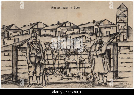 Russian prisoners of war in the Austro-Hungarian POW Camp of Eger (now Cheb in West Bohemia, Czech Republic) during the First World War depicted in the undated drawing by an unknown artist, probably by one of the Russian prisoners, and published in the vintage postcard issued by local publisher Johann Russ issued probably in 1918. Courtesy of the Azoor Postcard Collection. - Stock Photo