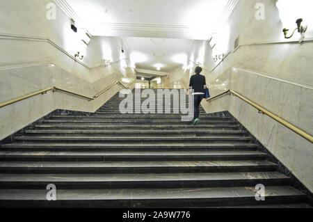 Biblioteka Imeni Lenina metro station. Moscow, Russia - Stock Photo