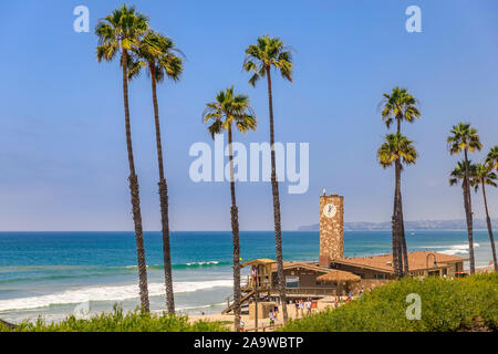 San Clemente, USA - July 03, 2017: Pacific ocean waves at the beach in a famous tourist destination in California, USA with a lifeguard station - Stock Photo