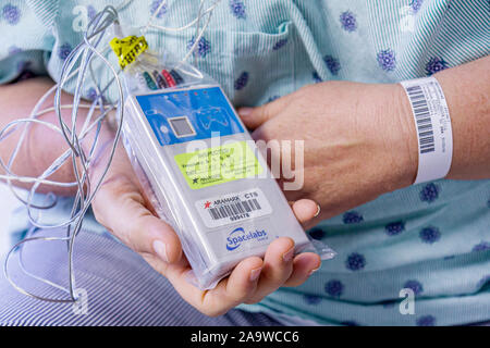 Florida, FL, South, Miami Beach, SoBe, Mt. Mount Sinai Medical Center, hospital, healthcare, patient private room, monitor, equipment, sightseeing vis - Stock Photo