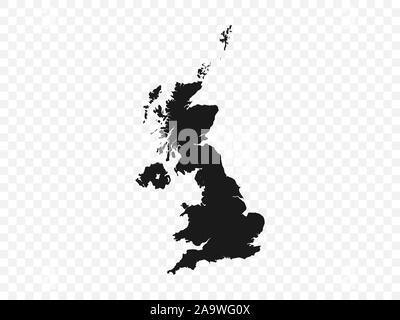 United Kingdom map on transparent background. Vector illustration. - Stock Photo