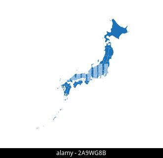 Japan Map, states border map. Vector illustration. - Stock Photo
