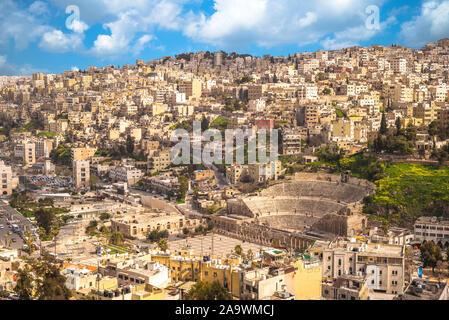 skyline of Amman, capital of Jordan, with roman theater Stock Photo