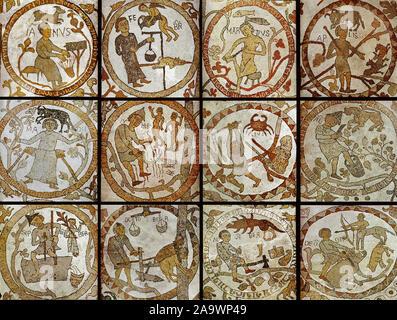 Italy Apulia Otranto Cathedral - zodiac floor - Stock Photo