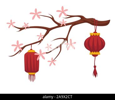 Blooming sakura and Chinese paper lanterns isolated icon