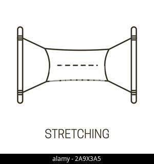 Stretching or advertising banner isolated line icon, cloths hanging on ropes - Stock Photo