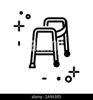 Walker isolated line icon, medical equipment, injury rehabilitation - Stock Photo