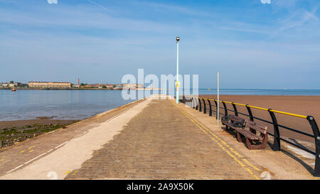 The ferry pier in Knott End-on-Sea, Lancashire, England, UK - with the River Wyre and Fleetwood in the background - Stock Photo