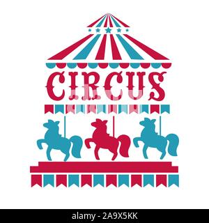 Fun fair, circus or carnival isolated icons, merry-go-round - Stock Photo
