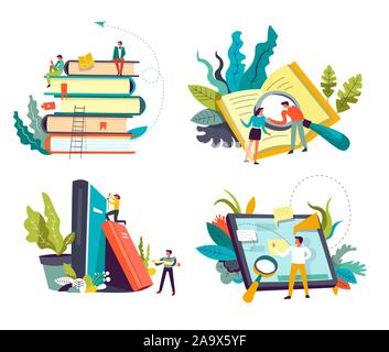 Online library service, book piles and tablet or pad, isolated icons Stock Photo
