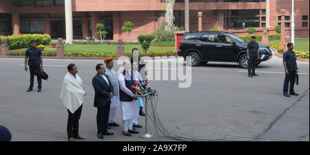 Indian Prime Minister Narendra Modi with Parliamentary Affairs Minister Pralhad Joshi and Minister in PMO Jeetendra Singh sourounded by security servi - Stock Photo