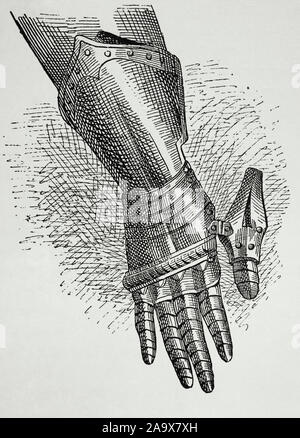 Armour. Gauntlet. Gloves of metal plates which protected the hand. Engraving. Museo Militar, 1883. - Stock Photo