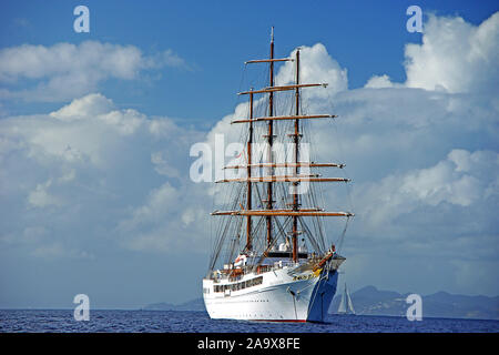 Karibik, Französiche Antillen, Saint Barthelemy (St. Barth), Sea Cloud II - Stock Photo